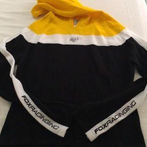 Fox Tops - Fox racing hoodie, black, white, yellow